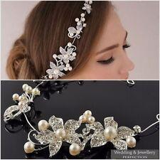 Bridal Wedding Flower Hair Comb Diamante Crystal Rhinestone Clip Slide Jewel UK