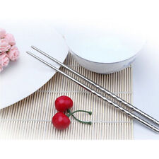 5 Pairs of Stainless Steel Metal Chopsticks Chop Stick Silver Reusable Nice Gift