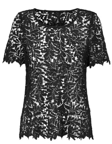 Ladies Black Crochet Holey Top in UK SIZES 14-24