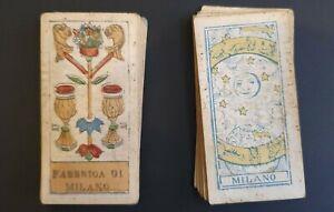 Carte Italie Jeux.Details Sur Jeu De Cartes Vers 1800 Couleurs Milano Italie 40 Cartes Dos Jaune Bleu
