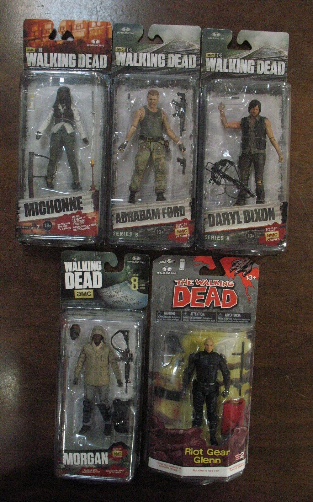 Lot NEW MOC THE WALKING DEAD Michonne Daryl Abraham Morgan Riot Gear Glenn