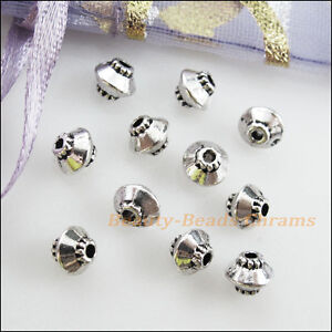 12Pcs Antiqued Silver Tone Tiny Flower Spacer Beads Charms 6mm