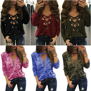 Mujer-Cordones-cuello-en-039-V-039-Holgado-Blusa-Camiseta-manga-larga-Camuflaje-jersey