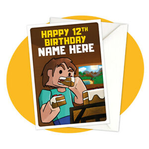 Steve-Eating-PERSONALISED-BIRTHDAY-CARD-Minecraft-themed-gamer-personalized