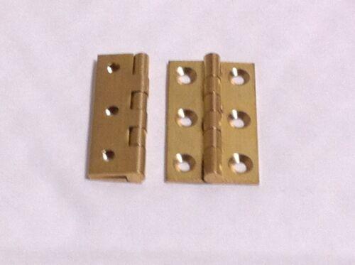 2 x Heavy Duty Solid Brass Butt Hinges 25,38,50,63,75 /& 100mm DSW Screws Include