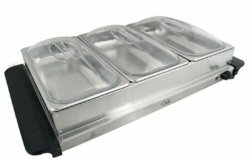 Compact 200W Large Electric Buffet Server 3 Warming Trays Hot Plate Food Warmer