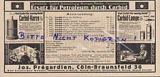 KÖLN, Werbung 1918, Jos. Prégardien Carbid-Kerze-Lampe-Laternen Licht Energie