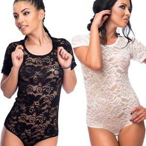 Evoni Body Femmes Sexy Dentelle Manches Courtes Col Rond avec un ... 1d364e06908