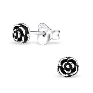 0692d2a59 925 Sterling Silver Tiny Rose Oxidised Kids Girl Women Stud Earrings ...