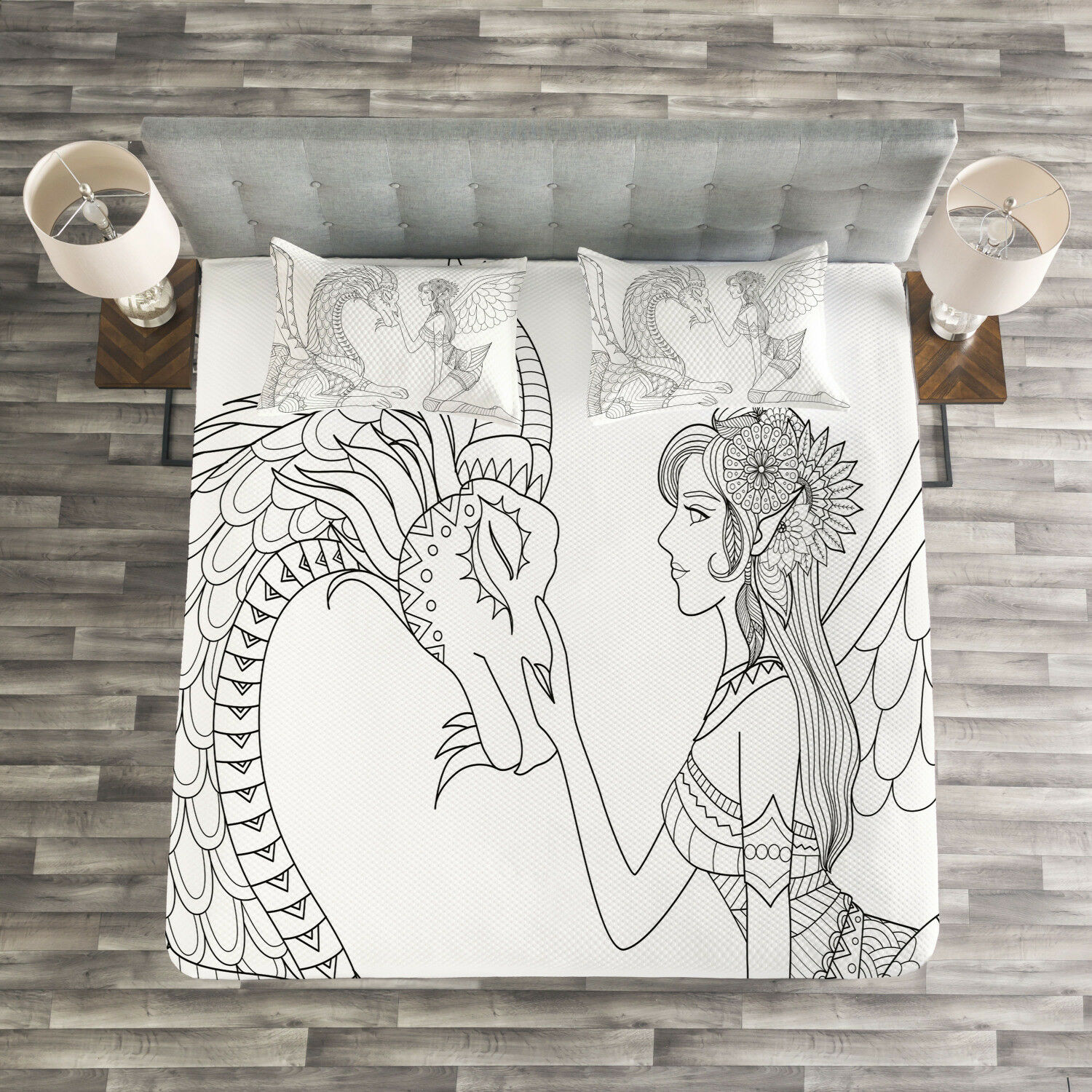 Fantasy Quilted Bedspread & Pillow Shams Set, Fairy Woman and Dragon Print