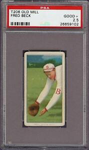 Rare 1909-11 T206 Fred Beck Old Mill Back Boston PSA 2.5 Good +
