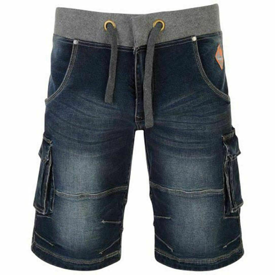 Mens KAM Big Tall Superior Quality Elasticated Waist Denim Cargo Shorts 42 -60      Neuer Markt
