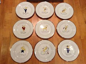 Full Set Of All 9 Pottery Barn Reindeer Dessert Salad
