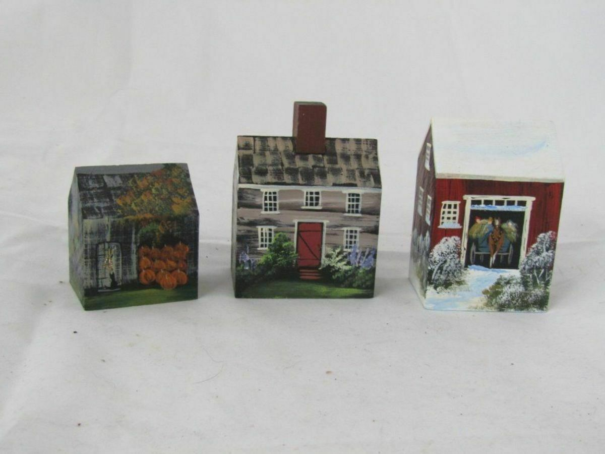THREE CHARLOTTE TRAHAN ARTISAN HANDPAINTED WOODEN BUILDINGS -COUNTRY STYLE    EX