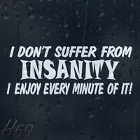 Funny I Don't Suffer From Insanity I Enjoy Every Minute Car Decal Vinyl Sticker