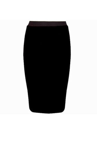 Ladies Women Plain Pencil Skirt Knee Length Long Stretchable Bodycon Midi Dress