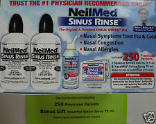 250 Pc. NeilMed Sinus Rinse Exp. 2020 Relief Nasal Flu Cold Allergy+Free Spray