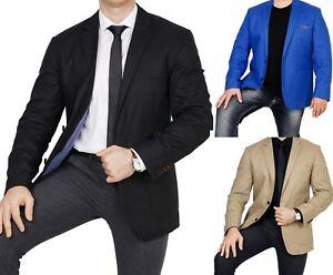 Herren-Sakko-untersetzt-Comfort-Fit-Leinen-Mix-Ubergroesse-Blazer-Zweiknopf-Jacke