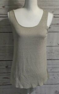 New M Eileen Fisher Pebble Scoop-neck Shell Cami Top nwt $128 linen/silk