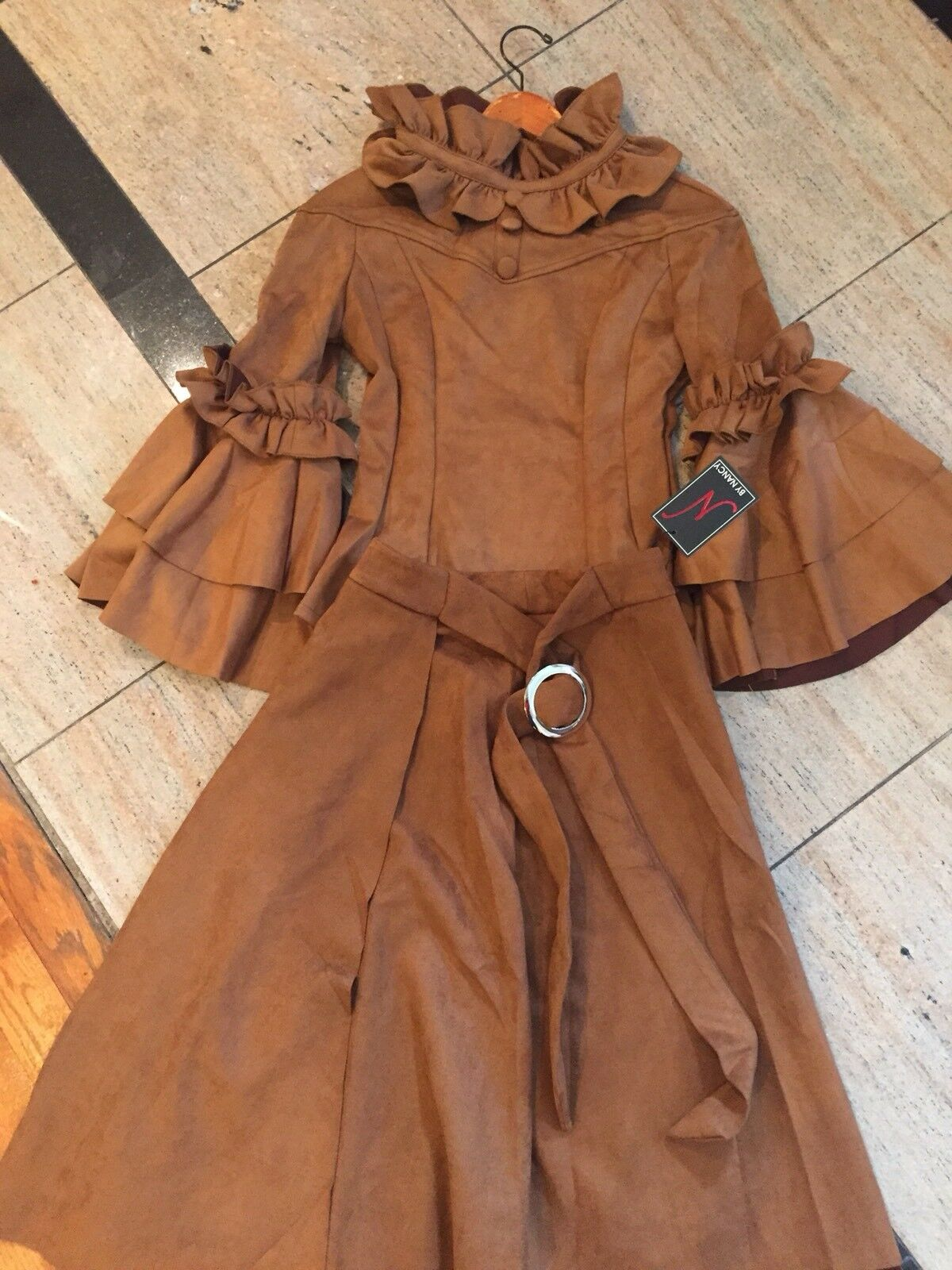 NEW Womens GORGEOUS Suede Camel 2 Piece Outfit ,size S