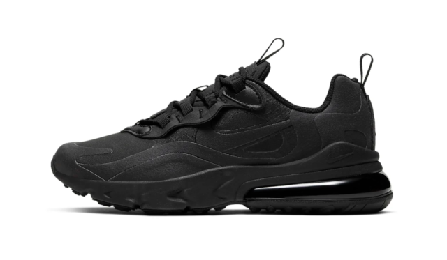 Nike Air Max 270 React (GS) Shoes Triple Black BQ0103-004 Youth NEW