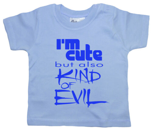 """Dirty Fingers Funny Cool Baby Toddler T-Shirt Boys Girls Top /""""I/'m Cute But Evil/"""""""