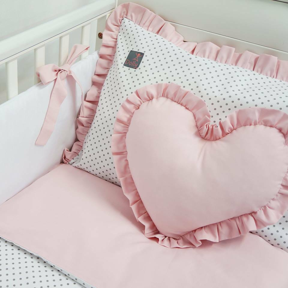 PILLOW BUMPER made form 6 cushions for cot// cot  bed  PINK STARS GIRL BED SET