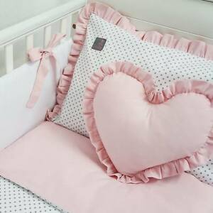 **NEW EXCLUSIVE & LUXURY BABY GIRL BEDDING SET - white & grey dot + powder pink