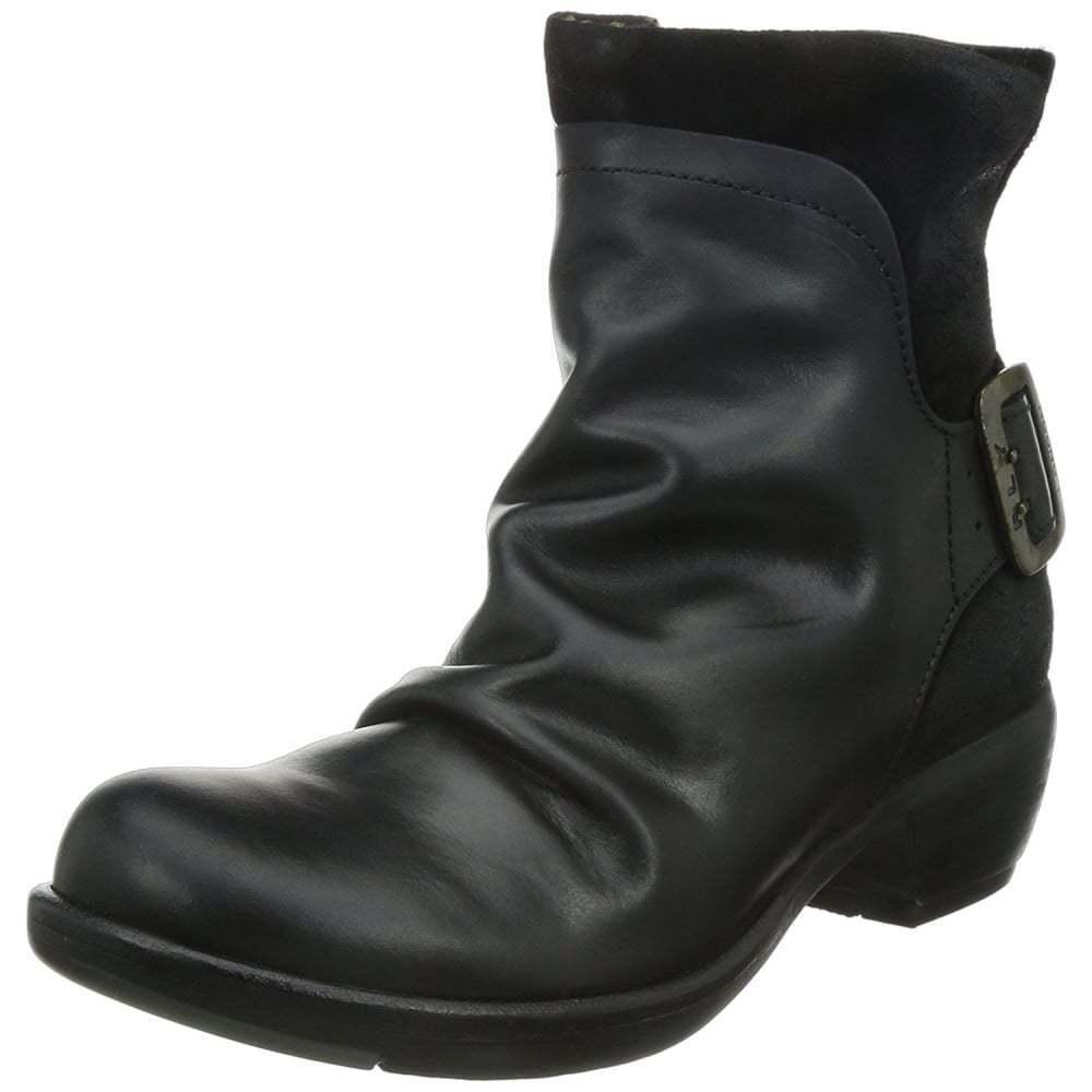 Ladies Fly London Mel Full Leather Low Heel Ankle Boot Red Black UK Seller