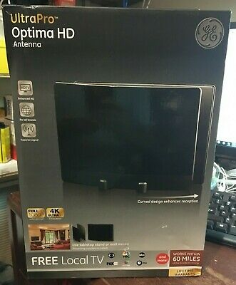 Full HD 1080p and 4K Ultra GE UltraPro Optima Curved 60 Mile Range TV Antenna