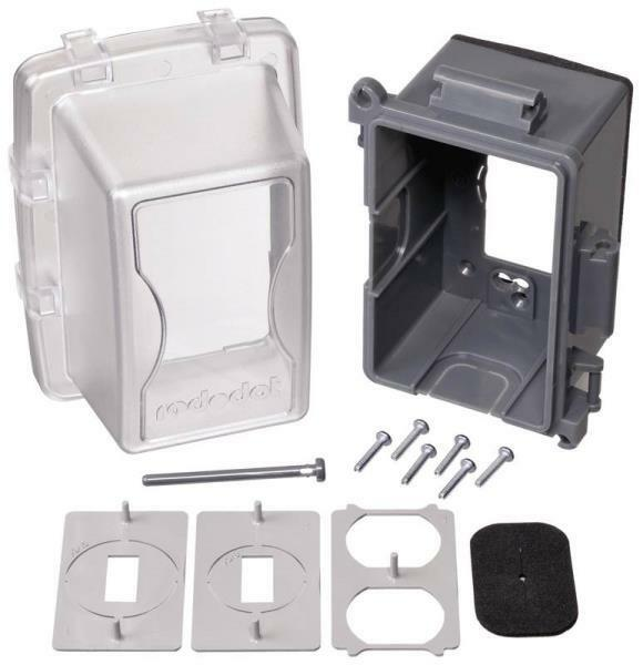Use Weatherproof Electrical Box Cover GRAY//CLEAR Red Dot # CKPM Universal In