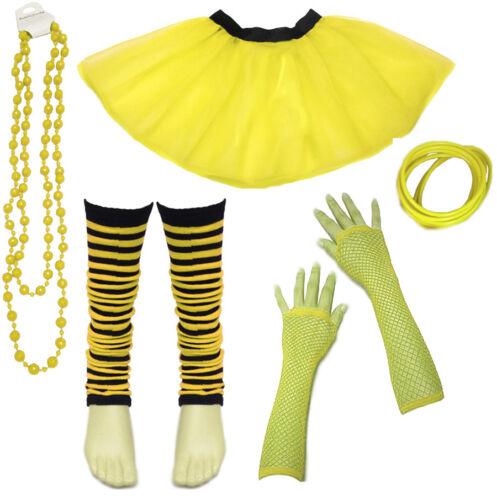 80/'s Neon UV Tutu Skirt Leg Warmer Gummies Beads Hen Fancy Dress Party Costumes