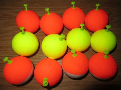 """12 2 inch /"""" FISHING BOBBERS Round Weighted Floats Assorted Foam SNAP ON FLOAT"""