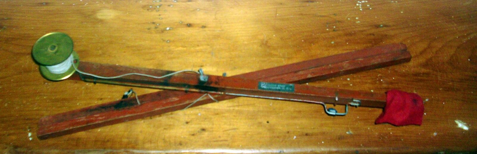 Vintage Wood Brass Fishing Rod Fish Crafters Worcester MA Toy Fly Red Paint