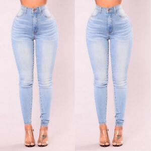 Womens-Stretch-Skinny-Denim-Jeans-Slim-Jeggings-High-Waist-Pencil-Pants-Trousers