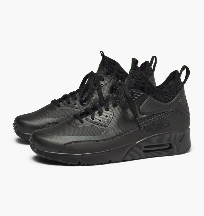 NIKE AIR MAX 90 ULTRA MID WINTER TRAINERS, UK10, BLACK ANTHRACITE, 924458004