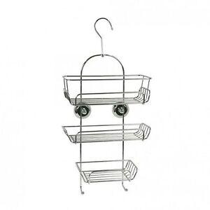hang hanging hanger hook chrome metal shower storage caddy. Black Bedroom Furniture Sets. Home Design Ideas