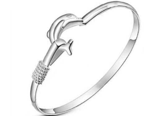 YJ001 Dolphin Bracelet Femmes Fille Charme Mode Argent Plaqué Fête Cadeau