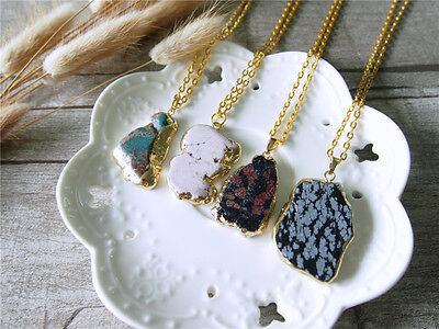 Raw Turquoise Slice Pendant Rough Gem Necklace Natural Gemstone Statement Golden