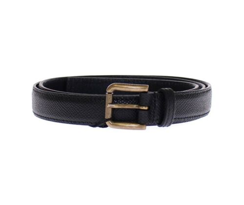 NWT $300 DOLCE /& GABBANA Blue Leather Logo Belt Waist Gold Buckle 105cm 42inch