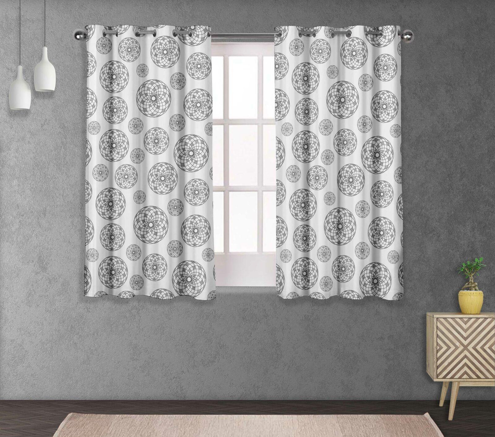 S4sassy Concentric Mandala Window short & long Curtain Eyelet  Drapers-GMD-569M