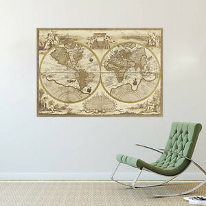 Wall removable poster old vintage european retro world map vinyl image is loading wall removable poster old vintage european retro world gumiabroncs Gallery