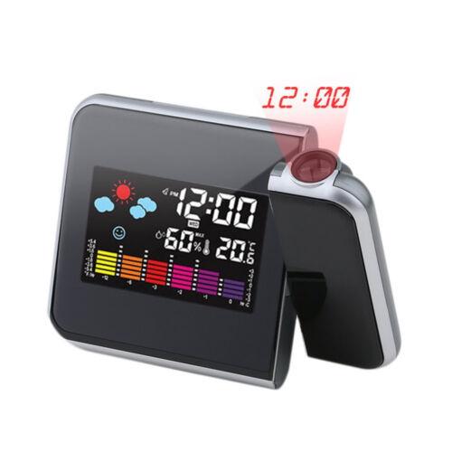 Écran Couleur Météo LCD Snooze Alarme Projection Numérique Horloge Avec Rétroéclairage DEL