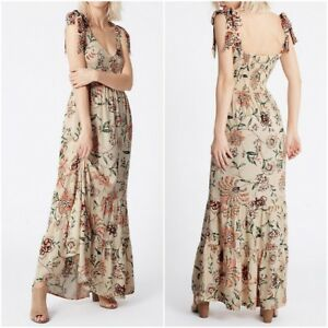 NEW-Ex-M-amp-S-BEIGE-Floral-Summer-Maxi-Dress-with-Tie-Shoulder-Size-8-16-RRP-49-50