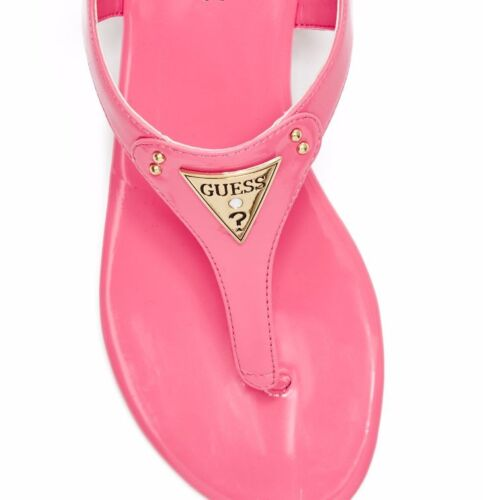 7M Details about  /GUESS Carmela Tangerine Patent Leather T-Strap Thong Sandal w//Logo Detail