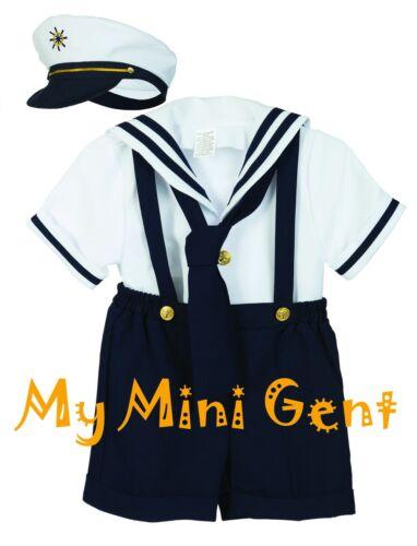 Les garçons Sailor Short Set blanc marine nautique tenue Infant 3m-24m tout-petits 2T-4T