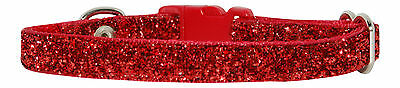 "RED  SPARKLE CHIHUAHUA  DOG/PUPPY COLLAR 6""-8"" 15-20 cm"