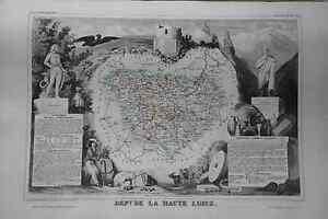 Grande-carte-France-1852-ATLAS-LEVASSEUR-Ed-Combette-Departement-43-HAUTE-LOIRE