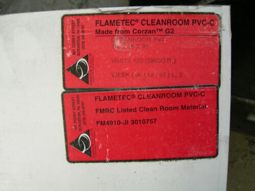 "FLAMETEC CLEANROOM WHITE PVC-C PLASTIC SHEETS 1//2/"" thick x 12/"" x 12/"""
