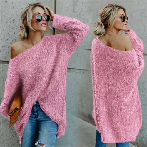 Women Sweater Pullover Off Shoulder Jumper Knitted Top Oversize Baggy Knitwear